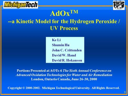 AdOxTM --a Kinetic Model for the Hydrogen Peroxide / UV Process