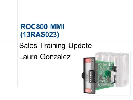 Sales Training Update Laura Gonzalez