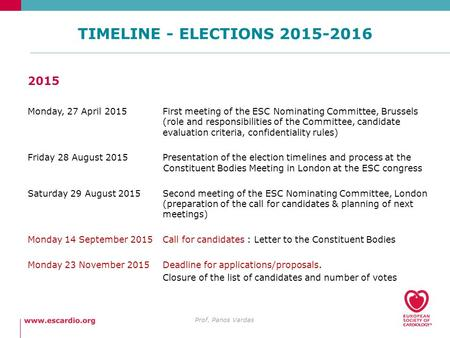 TIMELINE - ELECTIONS 2015-2016 Prof. Panos Vardas 2015 Monday, 27 April 2015First meeting of the ESC Nominating Committee, Brussels (role and responsibilities.