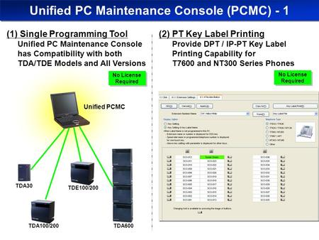 Unified PCMC Unified PC Maintenance Console (PCMC) - 1 TDA100/200 (1) Single Programming Tool Unified PC Maintenance Console has Compatibility with both.