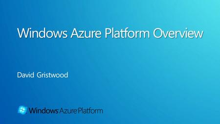 Windows Azure for scalable compute and storage SQL Azure for relational storage for the cloud AppFabric infrastructure to connect the cloud.