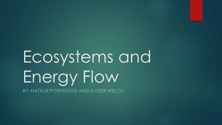 Ecosystems and Energy Flow BY: NATALIE PORTWOOD AND SLYDER WELCH.