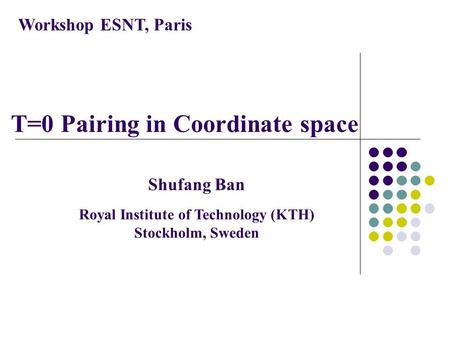 T=0 Pairing in Coordinate space Workshop ESNT, Paris Shufang Ban Royal Institute of Technology (KTH) Stockholm, Sweden.