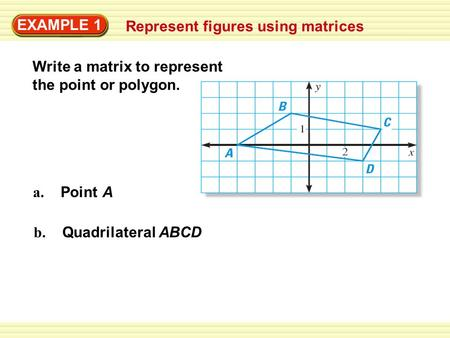 EXAMPLE 1 Represent figures using matrices Write a matrix to represent the point or polygon. a. Point A b. Quadrilateral ABCD.