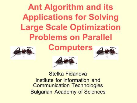 Ant Algorithm and its Applications for Solving Large Scale Optimization Problems on Parallel Computers Stefka Fidanova Institute for Information and Communication.