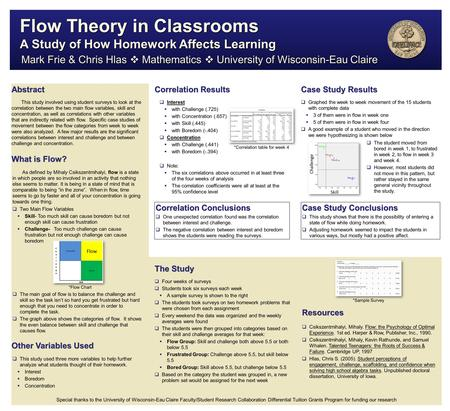 Abstract What is Flow? Other Variables Used Case Study Results Mark Frie & Chris Hlas  Mathematics  University of Wisconsin-Eau Claire This study involved.