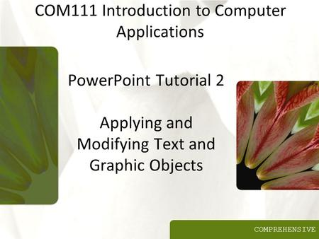 COMPREHENSIVE PowerPoint Tutorial 2 Applying and Modifying Text and Graphic Objects COM111 Introduction to Computer Applications.