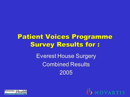 Patient Voices Programme Survey Results for : Everest House Surgery Combined Results 2005.