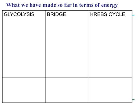 Copyright © 2005 Pearson Education, Inc. publishing as Benjamin Cummings What we have made so far in terms of energy GLYCOLYSISBRIDGEKREBS CYCLE.