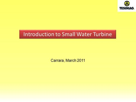 Carrara, March 2011 Introduction to Small Water Turbine.