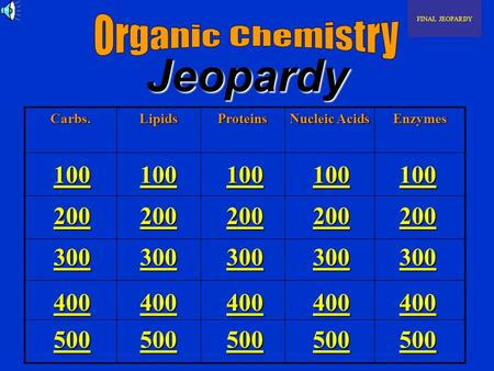 JeopardyCarbs.LipidsProteins Nucleic Acids Enzymes FINAL JEOPARDY 100 200 300 400 500 100 200 300 400 500 100 200 300 400 500 100 200 300 400 500 100.