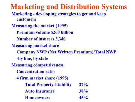 Marketing and Distribution Systems Marketing - developing strategies to get and keep customers Measuring the market (1995) Premium volume $260 billion.