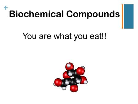 + Biochemical Compounds You are what you eat!!. Organic Chemistry ● Frederick Wohler founded organic chemistry in 1828. ● Organic chemistry is one of.