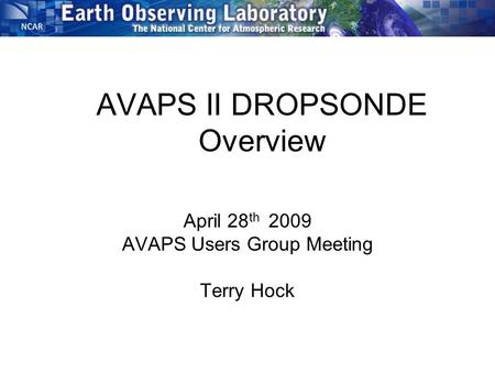 AVAPS II DROPSONDE Overview