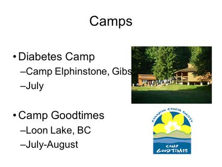 Diabetes Camp –Camp Elphinstone, Gibsons, BC –July Camp Goodtimes –Loon Lake, BC –July-August Nephrology Camp Camps.