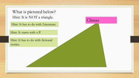What is pictured below? Hint: It has to do with Literature. Hint: It is NOT a triangle. Hint: It starts with a P. Hint: It has to do with fictional stories.