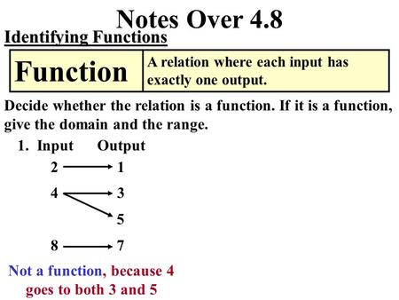 Notes Over 4.8 Identifying Functions A relation where each input has exactly one output. Function Decide whether the relation is a function. If it is.