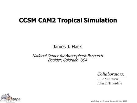 Workshop on Tropical Biases, 28 May 2003 CCSM CAM2 Tropical Simulation James J. Hack National Center for Atmospheric Research Boulder, Colorado USA Collaborators: