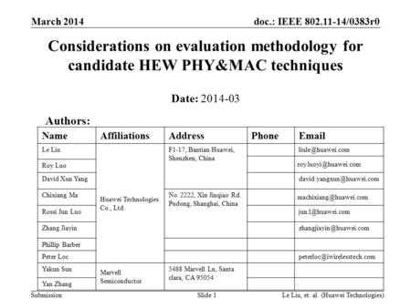Doc.: IEEE 802.11-14/0383r0 Submission Considerations on evaluation methodology for candidate HEW PHY&MAC techniques Date: 2014-03 March 2014 Le Liu, et.