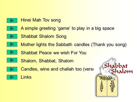 Hinei Mah Tov song A simple greeting 'game' to play in a big space Shabbat Shalom Song Mother lights the Sabbath candles (Thank you song) Shabbat Peace.