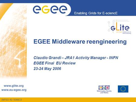 INFSO-RI-508833 Enabling Grids for E-sciencE www.eu-egee.org EGEE Middleware reengineering Claudio Grandi – JRA1 Activity Manager - INFN EGEE Final EU.