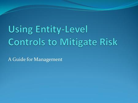 A Guide for Management. Overview Benefits of entity-level controls Nature of entity-level controls Types of entity-level controls, control objectives,