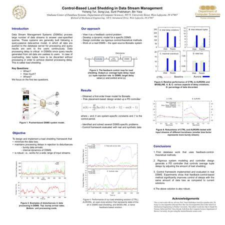 Control-Based Load Shedding in Data Stream Management Yicheng Tu †, Song Liu ‡, Sunil Prabhakar †, Bin Yao ‡ † Indiana Center of Database Systems, Department.