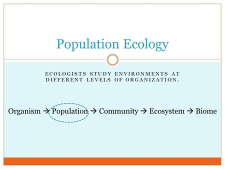 ECOLOGISTS STUDY ENVIRONMENTS AT DIFFERENT LEVELS OF ORGANIZATION. Population Ecology Organism  Population  Community  Ecosystem  Biome.