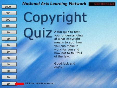 10 20 30 40 50 60 70 80 90 100 200 500 1000 National Arts Learning Network Copyright Quiz Copyright Quiz A fun quiz to test your understanding of what.