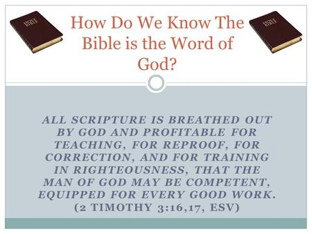 ALL SCRIPTURE IS BREATHED OUT BY GOD AND PROFITABLE FOR TEACHING, FOR REPROOF, FOR CORRECTION, AND FOR TRAINING IN RIGHTEOUSNESS, THAT THE MAN OF GOD MAY.