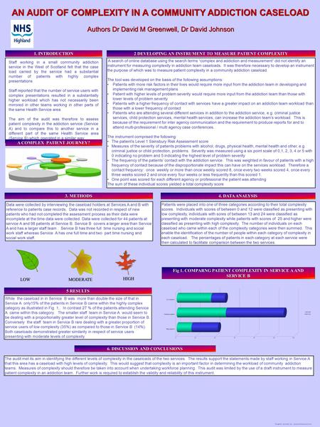 "Template provided by: ""posters4research.com"" Data were collected by interviewing the caseload holders at Services A and B with reference to patients case."