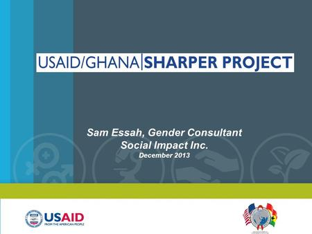 Sam Essah, Gender Consultant Social Impact Inc. December 2013.