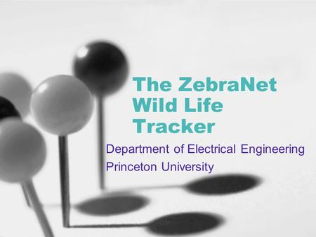 The ZebraNet Wild Life Tracker Department of Electrical Engineering Princeton University.
