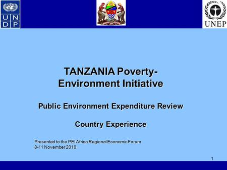 1 TANZANIA Poverty- Environment Initiative Public Environment Expenditure Review Country Experience Presented to the PEI Africa Regional Economic Forum.