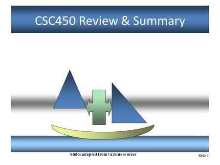 Slide 1 CSC450 Review & Summary Slides adapted from various sources.