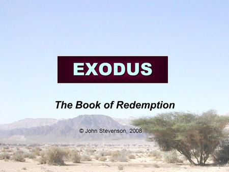 EXODUS The Book of Redemption © John Stevenson, 2008.