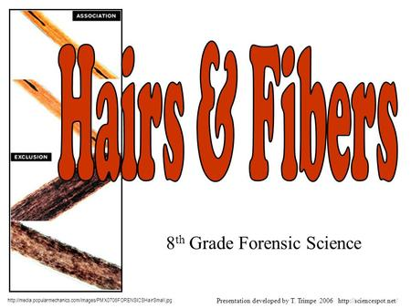 8 th Grade Forensic Science  Presentation developed by T. Trimpe 2006