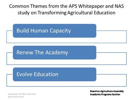 Common Themes from the APS Whitepaper and NAS study on Transforming Agricultural Education Build Human CapacityRenew The AcademyEvolve Education Association.