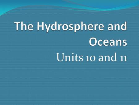 Units 10 and 11. 1. What is the hydrosphere? 1.The hydrosphere contains all water that exists on the earth. Water covers 75% of earth's surface. 97% of.