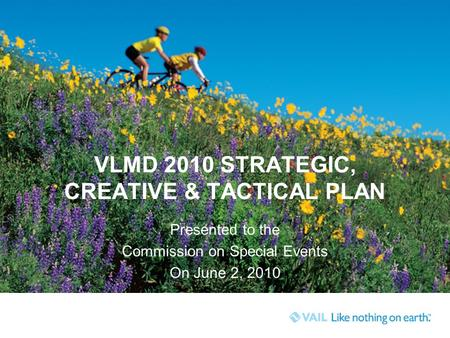 VLMD 2010 STRATEGIC, CREATIVE & TACTICAL PLAN Presented to the Commission on Special Events On June 2, 2010.