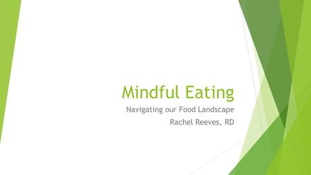 Mindful Eating Navigating our Food Landscape Rachel Reeves, RD.