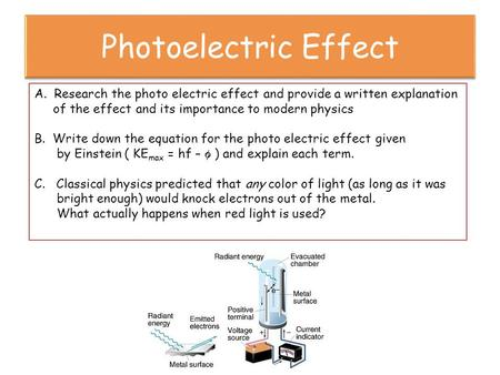 A. Research the photo electric effect and provide a written explanation of the effect and its importance to modern physics B. Write down the equation for.