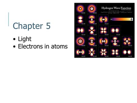 Chapter 5 Light Electrons in atoms. Models of the atom Rutherford's model of the atom did not show or explain chemical properties of elements Needed some.