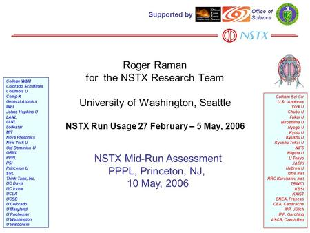 1 Roger Raman for the NSTX Research Team University of Washington, Seattle NSTX Run Usage 27 February – 5 May, 2006 NSTX Mid-Run Assessment PPPL, Princeton,