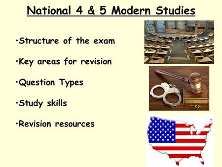 National 4 & 5 Modern Studies Structure of the exam Key areas for revision Question Types Study skills Revision resources.