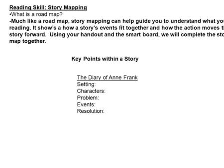Reading Skill: Story Mapping What is a road map? -Much like a road map, story mapping can help guide you to understand what you are reading. It show's.