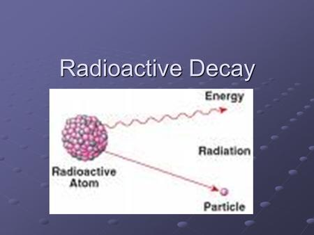 Radioactive Decay Quick Review Atom made of 3 subatomic particles Protons (positive, inside nucleus) Protons (positive, inside nucleus) Electrons (negative,