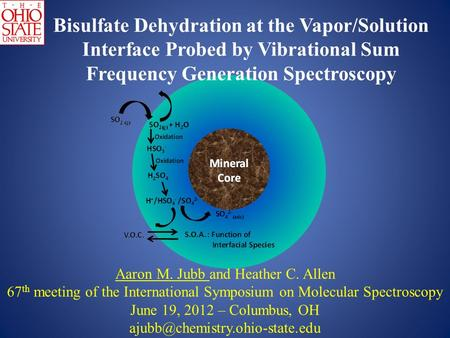 Bisulfate Dehydration at the Vapor/Solution Interface Probed by Vibrational Sum Frequency Generation Spectroscopy Aaron M. Jubb and Heather C. Allen 67.