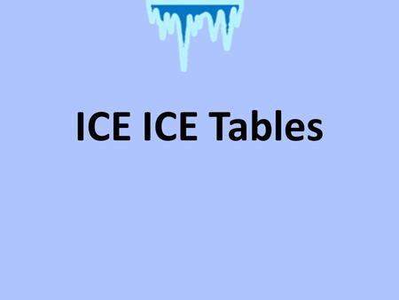 ICE ICE Tables. ICE Tables you can determine the concentration at equilibrium of a reactant or product by using ICE tables and the reaction equation.