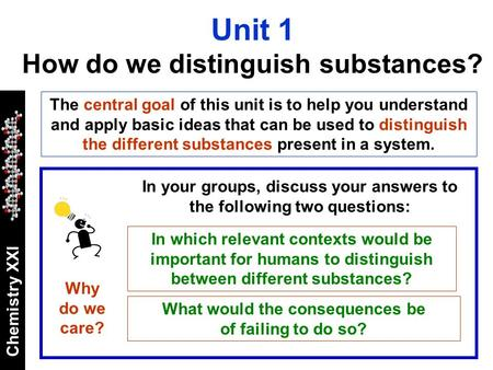 Chemistry XXI The central goal of this unit is to help you understand and apply basic ideas that can be used to distinguish the different substances present.